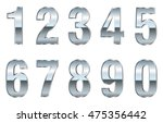 set of metal chrome numbers... | Shutterstock .eps vector #475356442