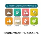 challenge flat icon set | Shutterstock .eps vector #475356676