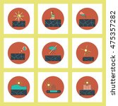 collection of icons in flat... | Shutterstock .eps vector #475357282