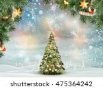 christmas fir tree on winter... | Shutterstock .eps vector #475364242