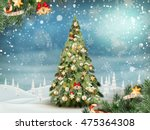 christmas fir tree on winter... | Shutterstock .eps vector #475364308