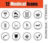 medical icon set.  thin circle...