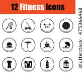 fitness icon set.  thin circle...