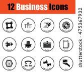 business icon set. thin circle...
