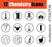 chemistry icon set.  thin...