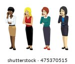 manga elegant woman poses set 4 | Shutterstock .eps vector #475370515