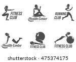 workout logo. fitness  aerobic... | Shutterstock .eps vector #475374175