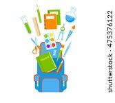 backpack with school supplies... | Shutterstock .eps vector #475376122