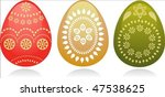 thre easter eggs with golden... | Shutterstock .eps vector #47538625