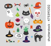 set of happy halloween photo... | Shutterstock .eps vector #475395202