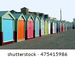 colorful row of bathing boxes... | Shutterstock . vector #475415986
