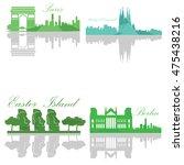 set of skylines  paris ... | Shutterstock .eps vector #475438216