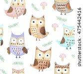 watercolor cute owls seamless... | Shutterstock . vector #475442416