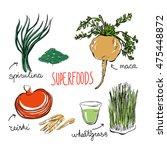 set of vector doodle... | Shutterstock .eps vector #475448872