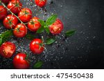 fresh cherry tomatoes on a... | Shutterstock . vector #475450438