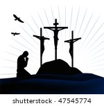 Crucifixion. Silhouettes Of Th...