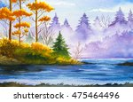 autumn landscape. watercolor... | Shutterstock . vector #475464496