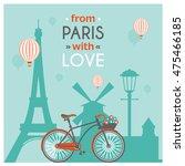 light blue paris post card with ...   Shutterstock .eps vector #475466185