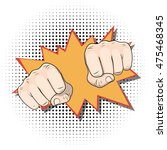 punching fists. pop art comic... | Shutterstock .eps vector #475468345