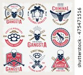 gangster colored emblems with... | Shutterstock .eps vector #475471516