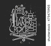 rock and roll typographic for t ... | Shutterstock .eps vector #475475905