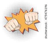 punching fists. pop art comic...   Shutterstock . vector #475476196