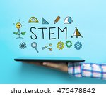 stem concept with a tablet on... | Shutterstock . vector #475478842