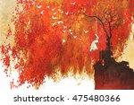 woman on a swing under autumn... | Shutterstock . vector #475480366