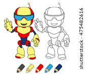 robot toy. vector coloring book ... | Shutterstock .eps vector #475482616