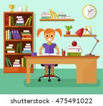 kid learns concept. smiling... | Shutterstock .eps vector #475491022