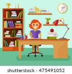 kid learns concept. smiling... | Shutterstock .eps vector #475491052
