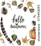 Watercolor Autumn Border With...