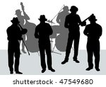 drawing music jazz orchestra.... | Shutterstock . vector #47549680