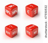 Dice kit. Variations on economic and business subjects. - stock photo