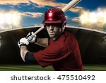 baseball player with a red... | Shutterstock . vector #475510492