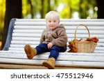 Toddler Boy Sitting On Wooden...