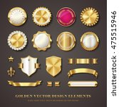 collection of golden vector design elements - blank seals, medals, shields / coats of arms, badges, banners, ribbons, scrolls and ornaments with transparent shadows | Shutterstock vector #475515946