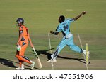 BLOEMFONTEIN, SOUTH AFRICA - DECEMBER 22: Action during a one-day cricket match between the Eagles and Titans (Titans won by four wickets), Bloemfontein, South Africa, 22 December 2009 - stock photo