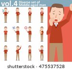 diverse set of middle aged man... | Shutterstock .eps vector #475537528