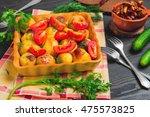 autumn dinner baked roasted... | Shutterstock . vector #475573825