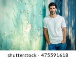 portrait of a handsome young... | Shutterstock . vector #475591618