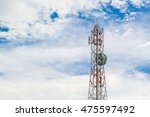 antenna repeater tower on blue... | Shutterstock . vector #475597492