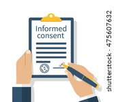 man signs a form of information ... | Shutterstock .eps vector #475607632