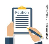 petition concept. businessman... | Shutterstock .eps vector #475607638