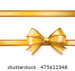 bright golden ribbon bow on... | Shutterstock . vector #475612348