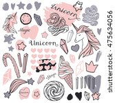 hand drawn icons unicorns ... | Shutterstock . vector #475634056