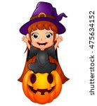 little witch cartoon sitting on ... | Shutterstock . vector #475634152