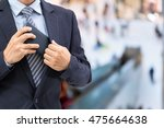 isolated business man hold the... | Shutterstock . vector #475664638