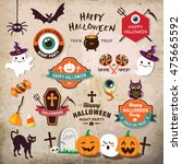 happy halloween design elements.... | Shutterstock .eps vector #475665592