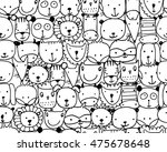 set of animal faces  sketch for ... | Shutterstock .eps vector #475678648